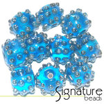 Round Light Blue Beads with Raised Silver Grey Dots