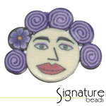 Purple Curls FIMO Polymer Clay Face Bead