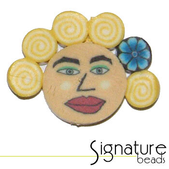 Yellow Curls FIMO Polymer Clay Face Bead