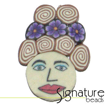 Purple Floral Beehive FIMO Polymer Clay Face Bead