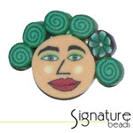 Green Curls FIMO Polymer Clay Face Bead