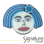 Blue Bob FIMO Polymer Clay Face Bead
