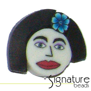Black Bob FIMO Polymer Clay Face Bead