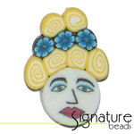 Yellow Beehive FIMO Polymer Clay Face Bead