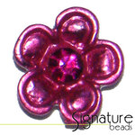 2-strand Metal Slider with Fuchsia Diamonte Flower