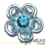 2-strand Metal Slider with Blue Diamonte Flower