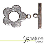 Antique Silver Flower Toggle Clasp