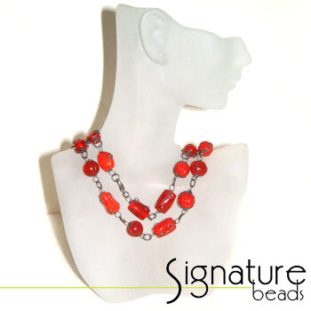 Red Wire Wrapped Glass Bead Necklace with Black Nickel Detail