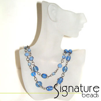 Denim Blue Wire Wrapped Glass Bead Necklace with Black Nickel Detail