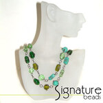 Green Wire Wrapped Glass Bead Necklace with Black Nickel Detail