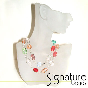 Multi-coloured Wire Wrapped Glass Bead Necklace with Silver Detail