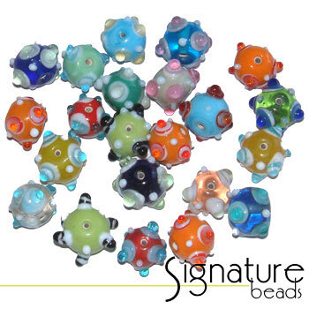 Colourful Lampwork Chinese Signature Round Glass Bead Mix