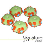 Lime Green Rondelles<br>with Orange and Blue Flowers<br>Packet of 5