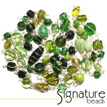 Silver Wire Wrapped Green Toned Glass Beads