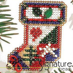 Mill Hill Glass Holiday Pin Bead Kit Holly Stocking