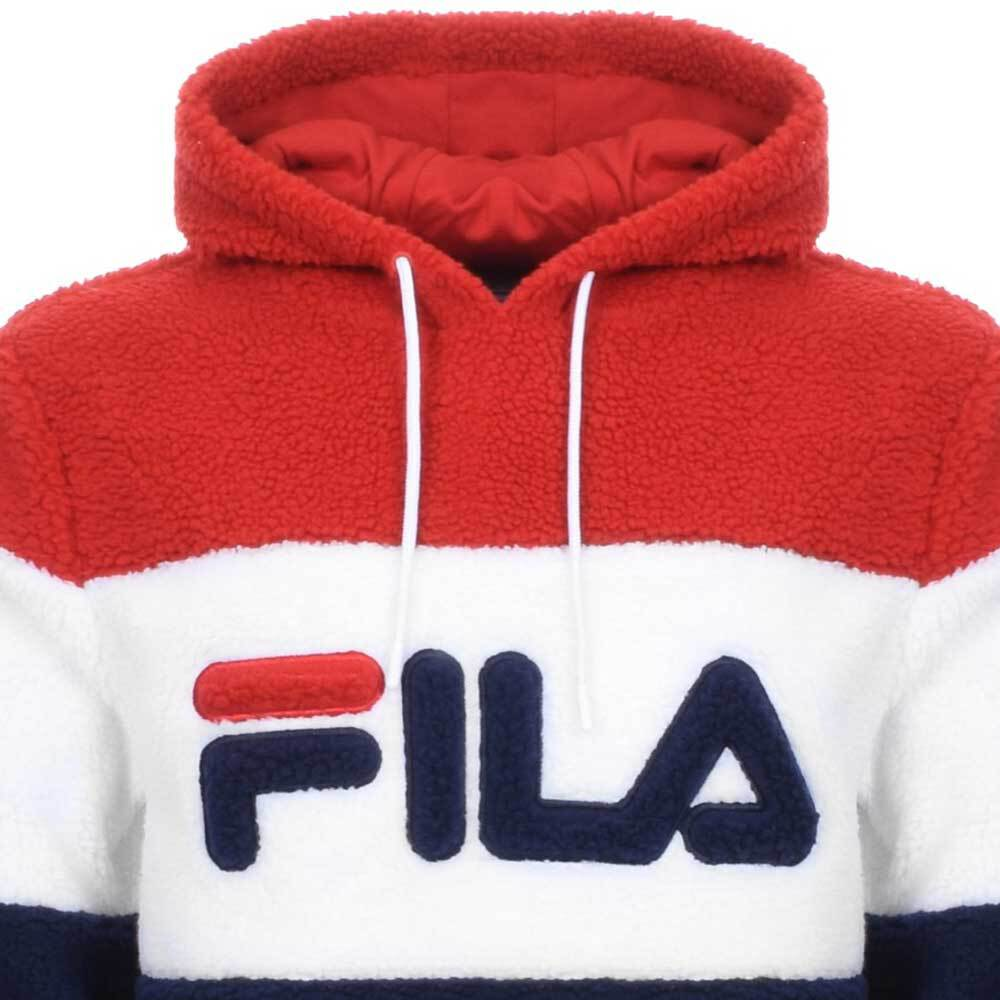Details about Fila Vintage Vintage Boris Fleece Hoodie PeacoatWhiteRed