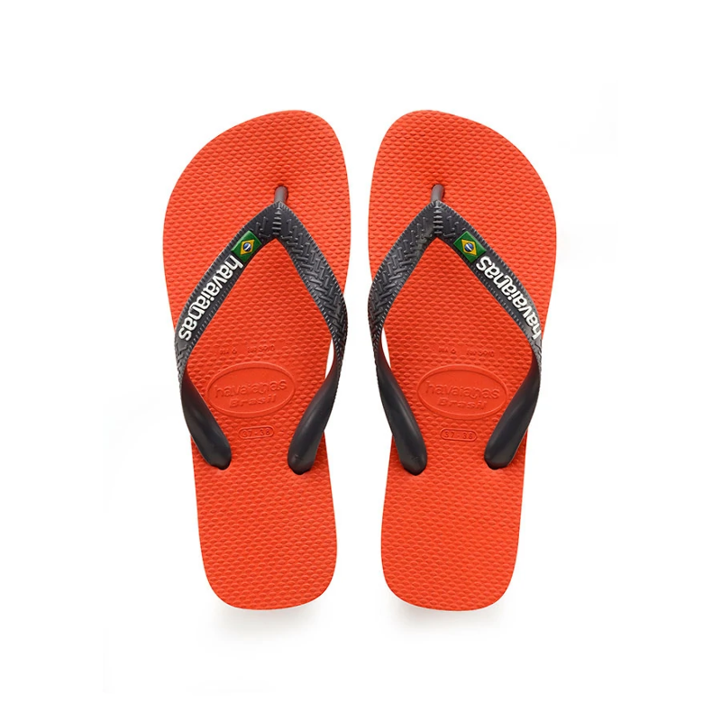 1a3146656 Havaianas Mens Brasil Logo Flip Flops Pumpkin Grey 41- 42 EU   7 - 8 ...
