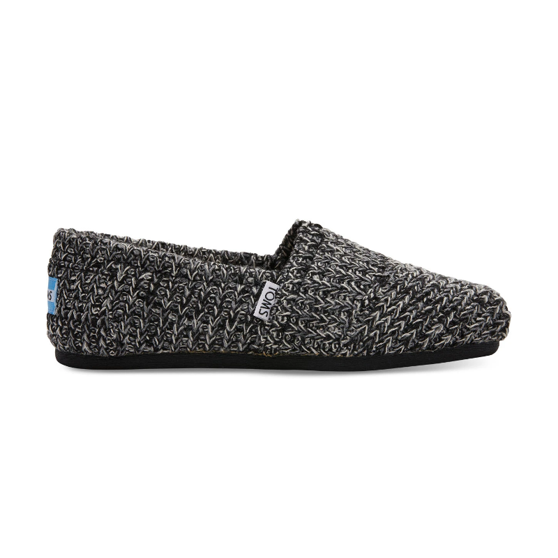 Details about TOMS Womens Black Sweater Knit Shearling Classics Espadrilles
