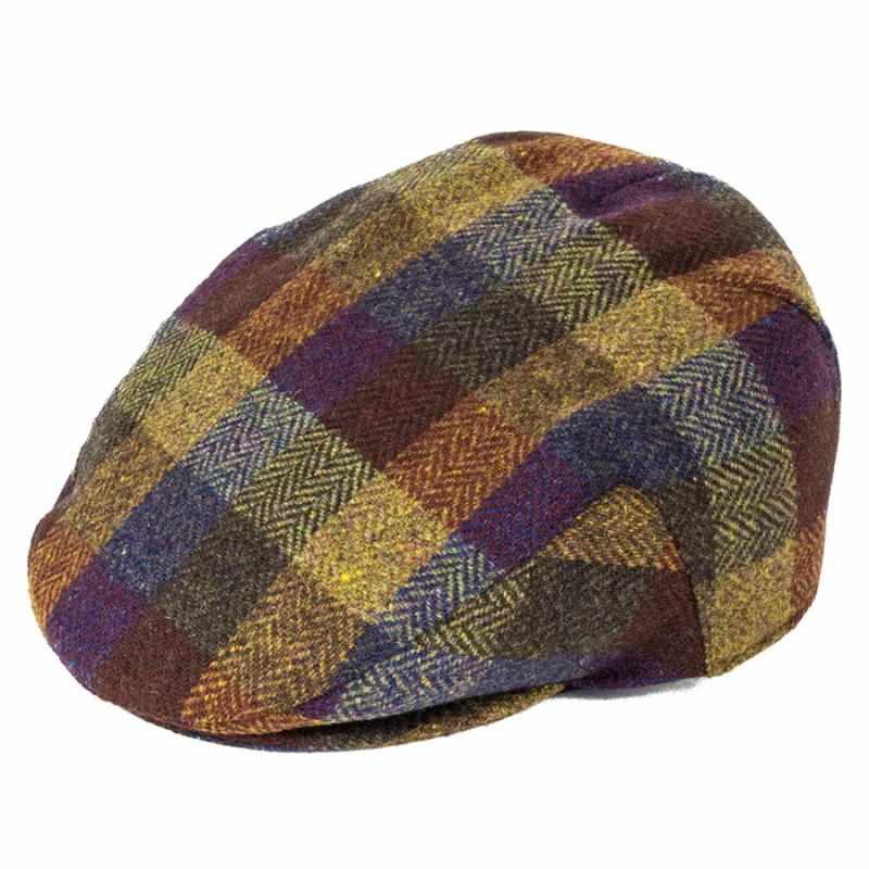 9cd2b21199ef1 Failsworth Hats Donegal Tweed Flat Cap Patchwork Red 57cm Medium