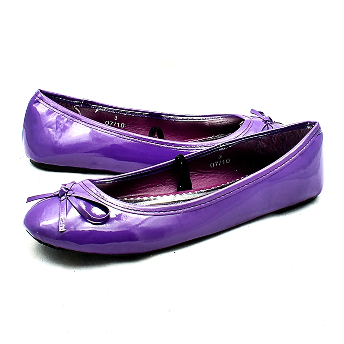 Girls Purple flat pumps shoes with