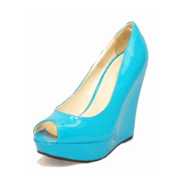 Turquoise Patent peep toe high wedge