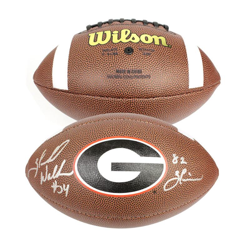 0292e3b81 Herschel Walker Georgia Bulldogs Autographed Signed Wilson Logo Football  with 82 Heisman Inscription - Beckett Certification