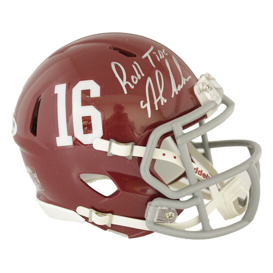 1c1d2833 Details about Nick Saban Autographed Alabama Crimson Tide Speed Mini Helmet  - Roll Tide - PSA/