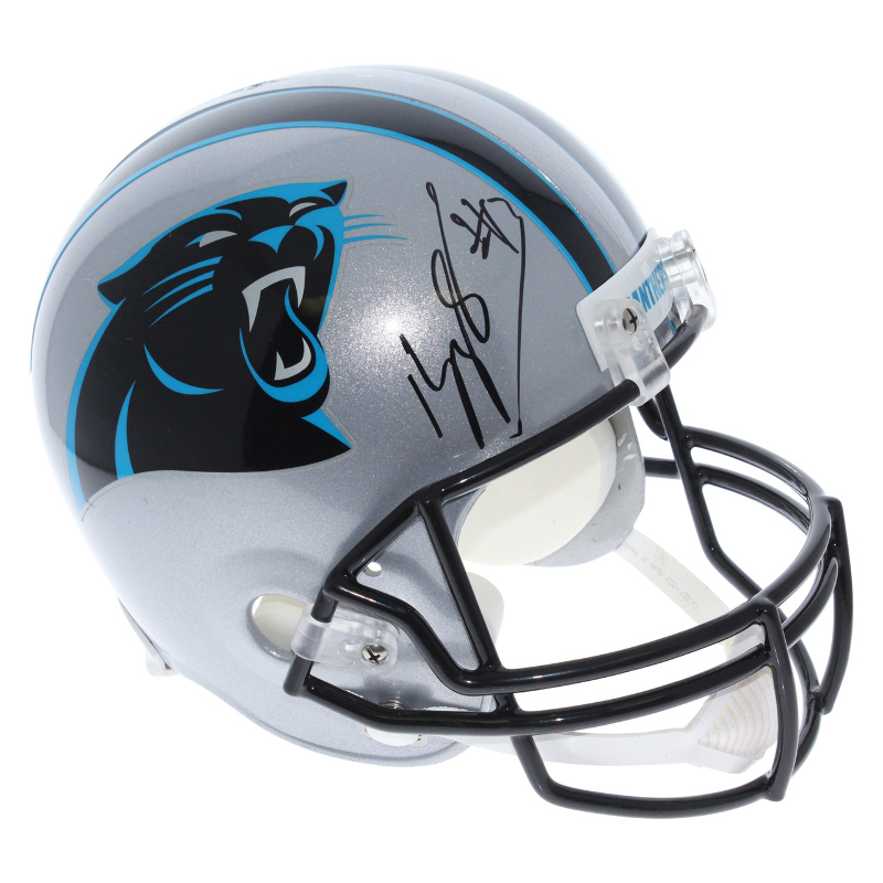 promo code 78d7e 00fe3 Details about Kelvin Benjamin Carolina Panthers Autographed Riddell Full  Size Replica Helmet S