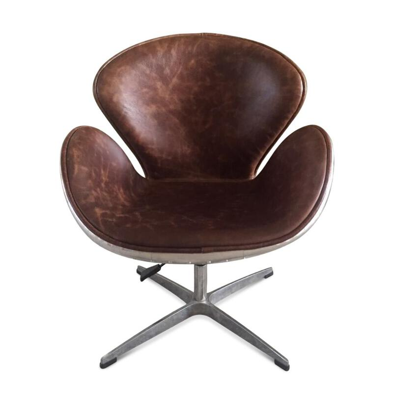 Phenomenal Details About Aviator Swan Chair Polished Aluminium Genuine Leather Swivel Adjustable Bralicious Painted Fabric Chair Ideas Braliciousco