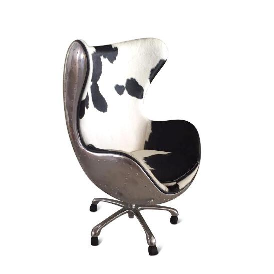 Pleasant Details About Aviator Egg Office Chair Jacobsen Aluminum Cowhide Swivel Casters Squirreltailoven Fun Painted Chair Ideas Images Squirreltailovenorg