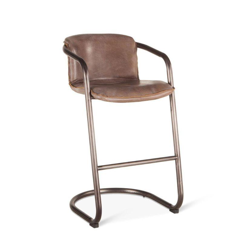 Swell Details About Modern Industrial Bar Chair Bar Stool Jet Brown Distressed Leather Set Of 2 Ibusinesslaw Wood Chair Design Ideas Ibusinesslaworg