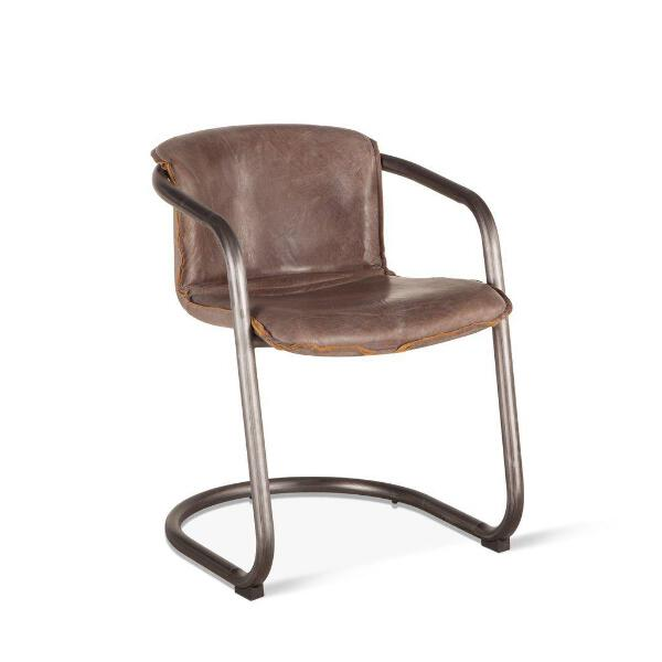 Groovy Details About Modern Industrial Dining Chair Distressed Brown Leather Set Of 2 Alphanode Cool Chair Designs And Ideas Alphanodeonline