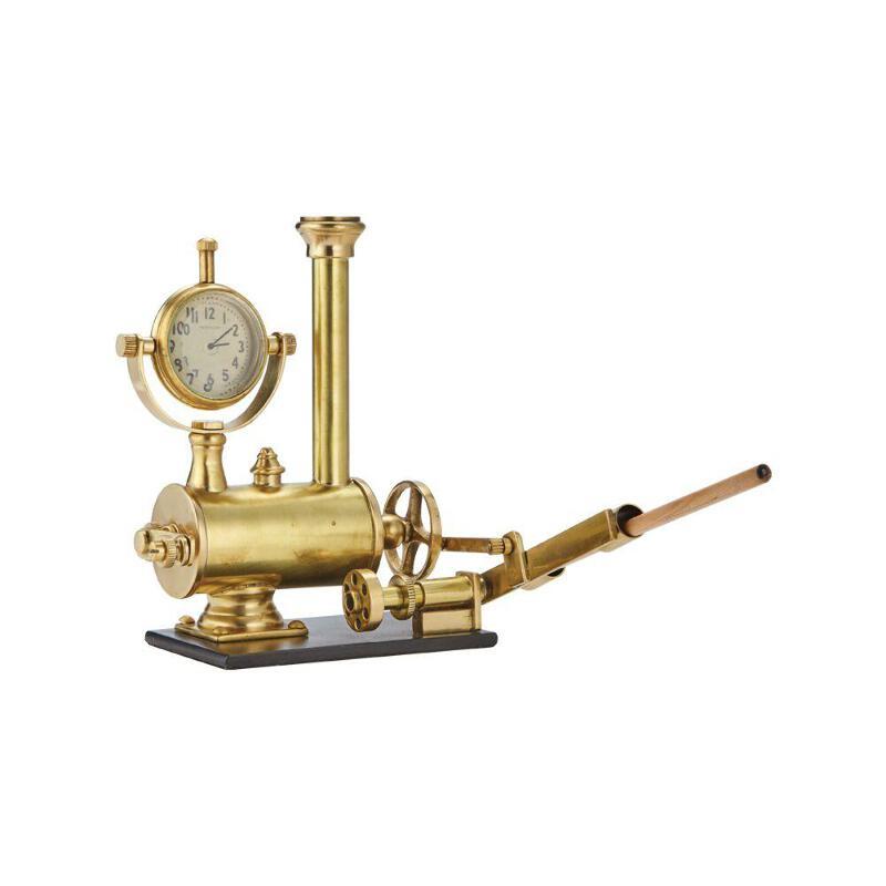 Details About Steampunk Brass Arkchimedes Desk Set Solid Brass Desk Clock Pencil Holder