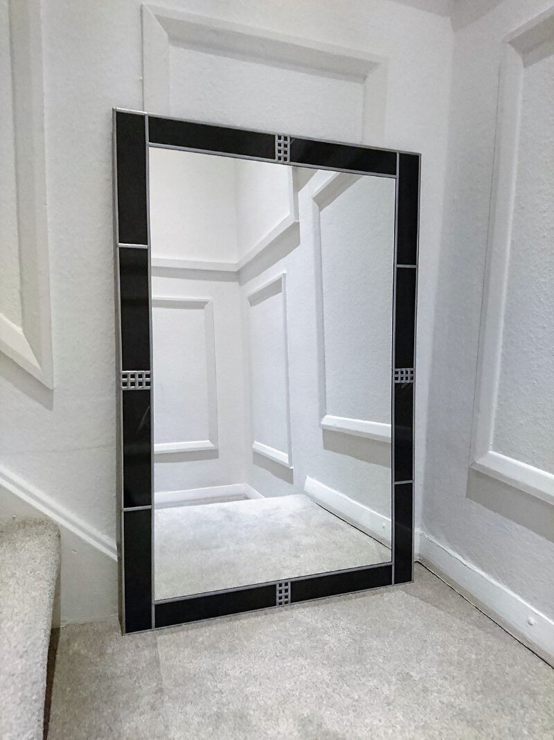 91x61cm 2x3ft Black Frame Art Deco Large Wall Mirror Handmade In The Uk Ebay
