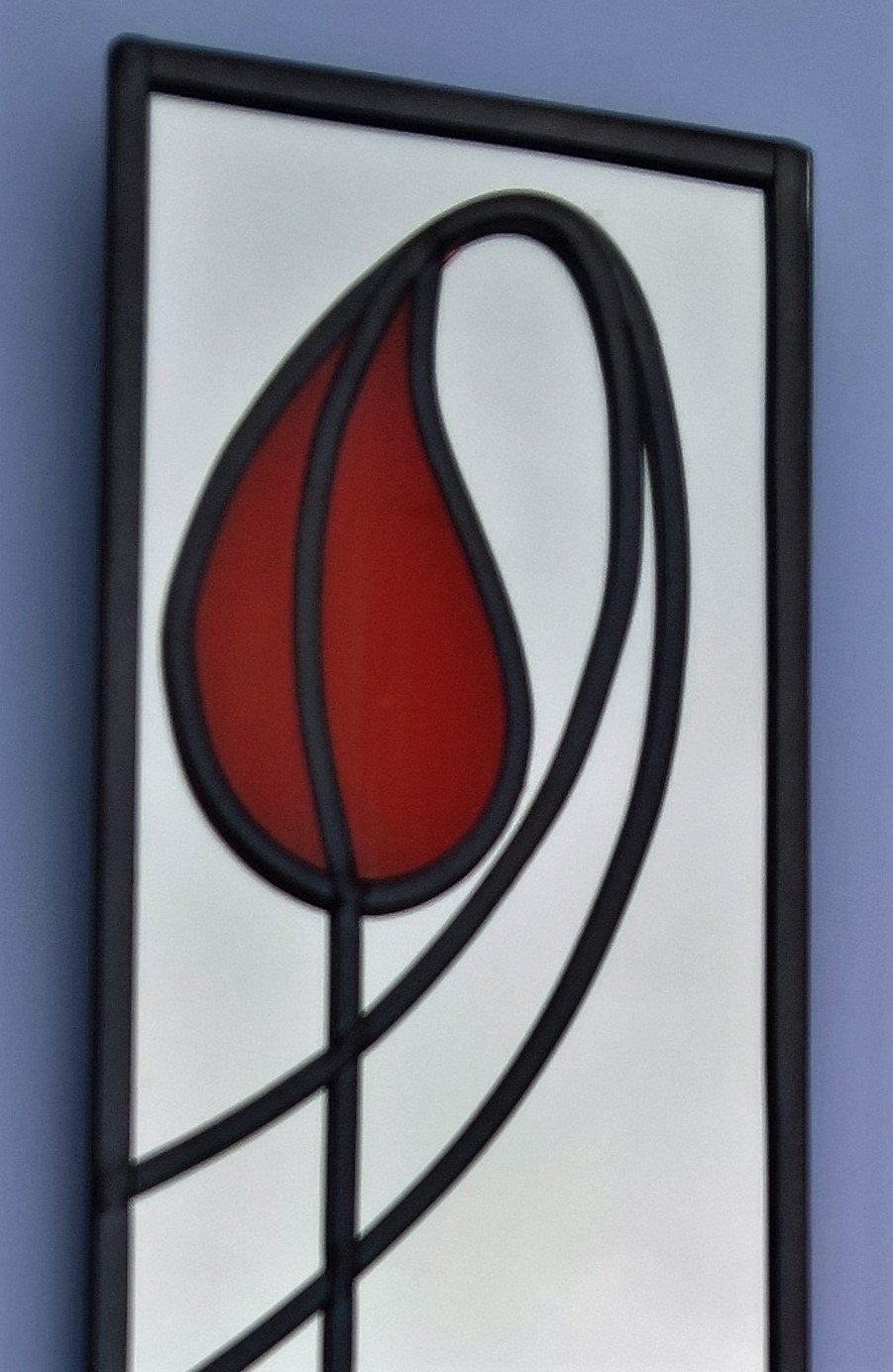 10x40cm Teardrop Tulip Stained Glass effect mirror Handmade in the UK mackintosh