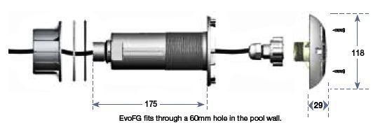 EVOFG Pool light dimensions