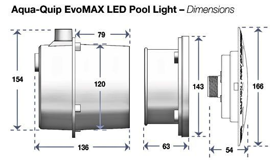 EvoMAX pool light dimensions