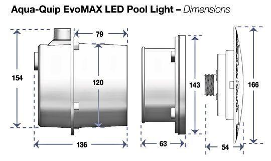 EvoMAX pool light dimensions