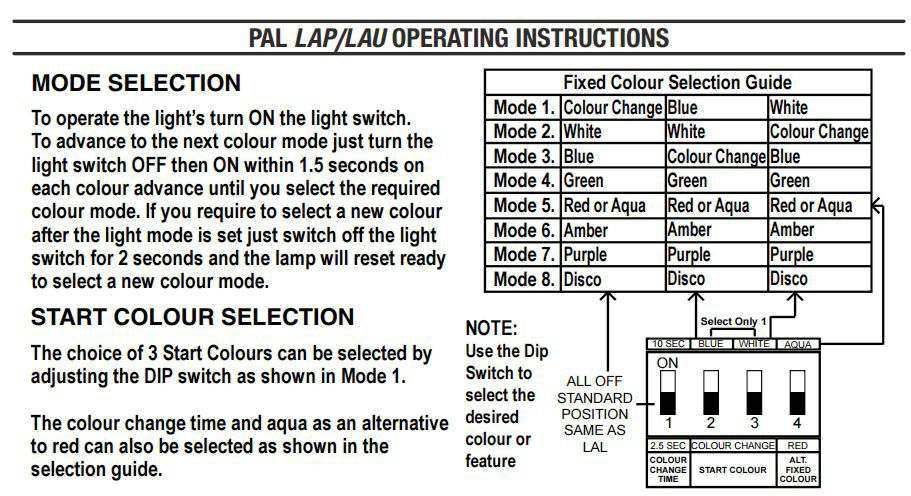 PAL2000 Dip Switches