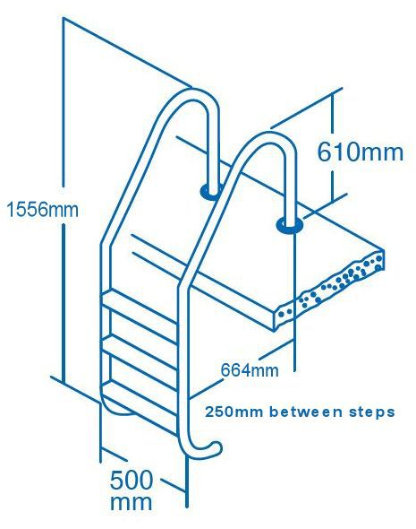 Stainless steel ladder dimensions