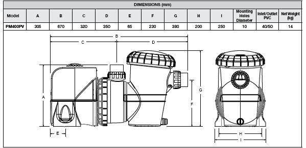 Davey VSD400 dimensions