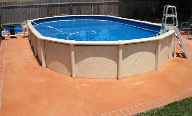 Oval saltwater resin above ground pools direct pool supplies for Resin above ground swimming pools