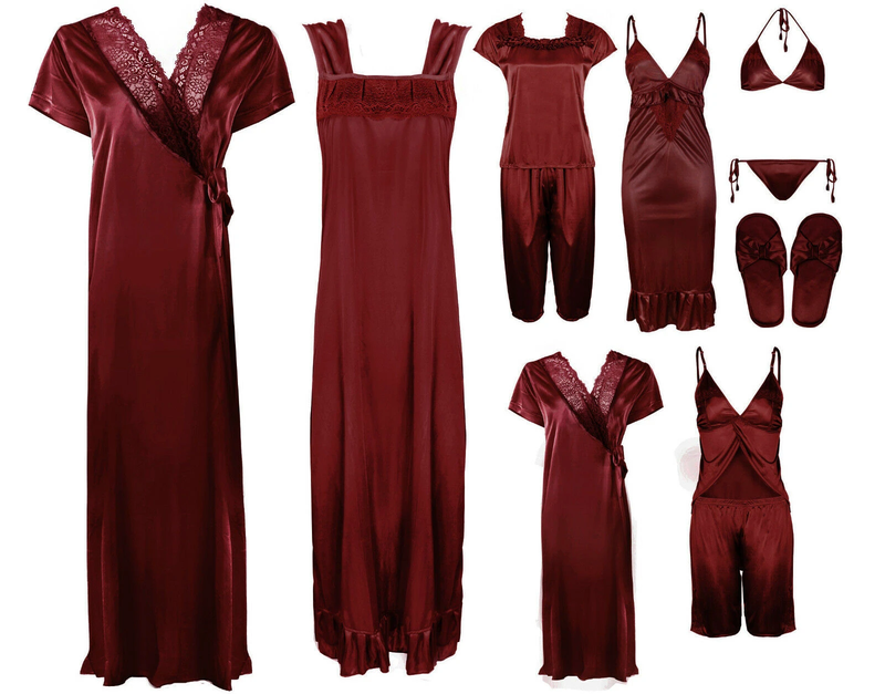 Ladies Long  Lace Detail Satin Nightdress And Dressing Gown or Set.New UK MADE
