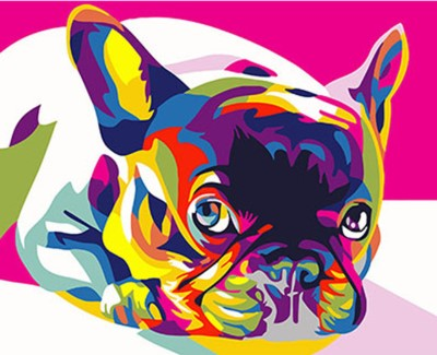REF314 PEINTURE PAR NUMEROS KIT DIY BOULEDOGUE FRANCAIS POP ART