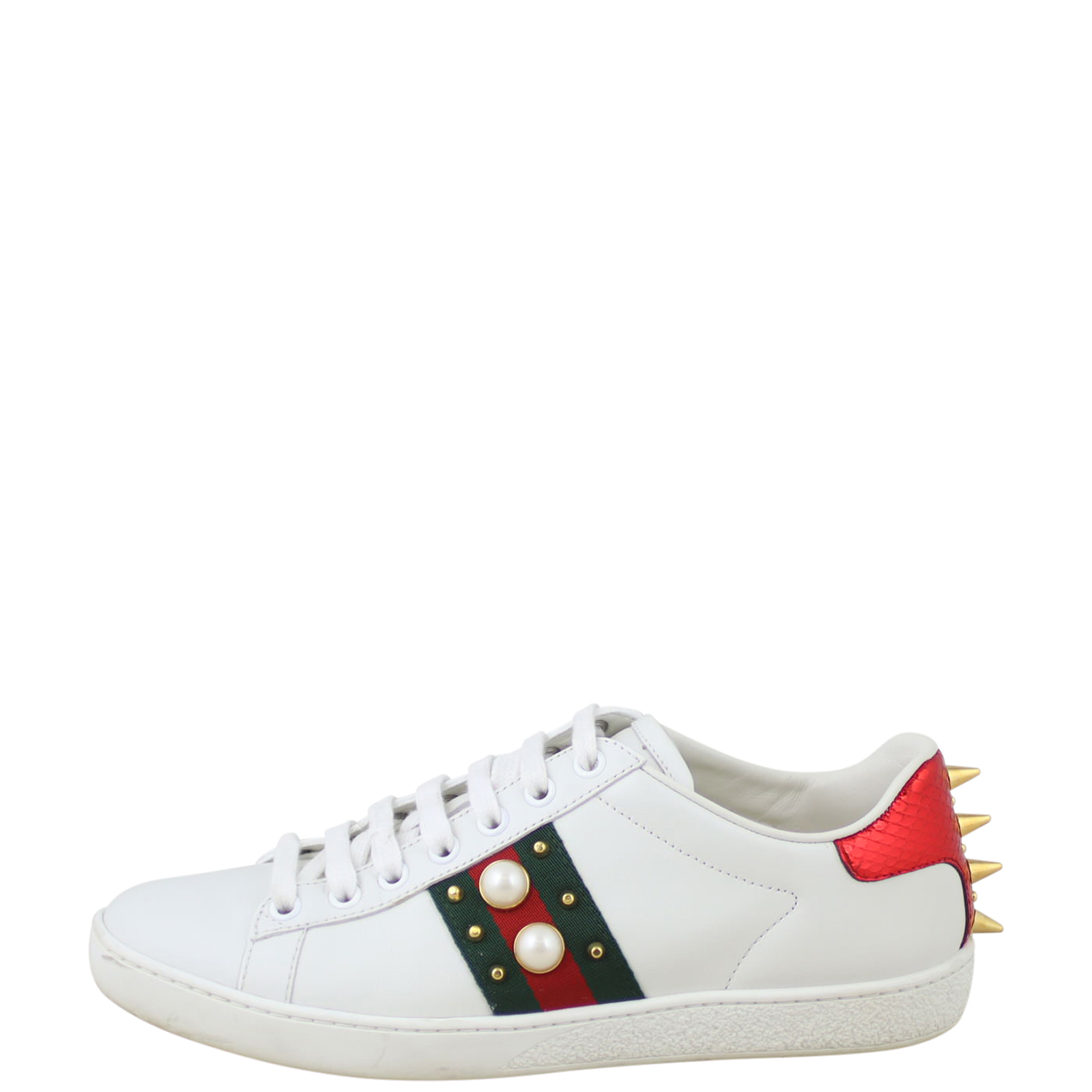 Authentic Gucci Ace Studded Leather