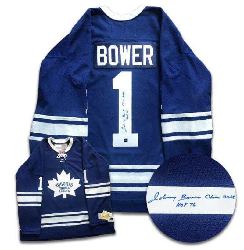 separation shoes 06ff9 eba99 Details about Johnny Bower Toronto Maple Leafs Autographed CCM Jersey