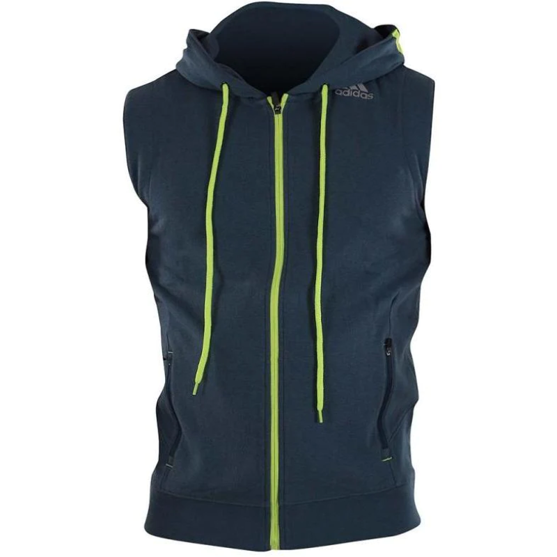 Details about Adidas Mens Training Sleeveless Hoodie Fleece Lined Zipped Pockets