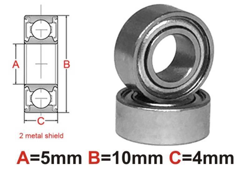 1pc AT Bearing 5x10x4mm MS Ceramic Hybrid silicon nitride ball metal
