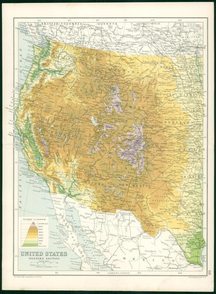 USA West Yosemite San Francisco Yellowstone 1912 old map ROCKY MOUNTAINS