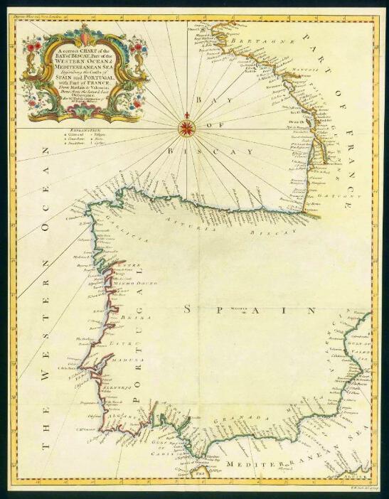 Golfo De Vizcaya Mapa.1746 Antiguo Mapa Espana Portugal Francia Golfo De Vizcaya